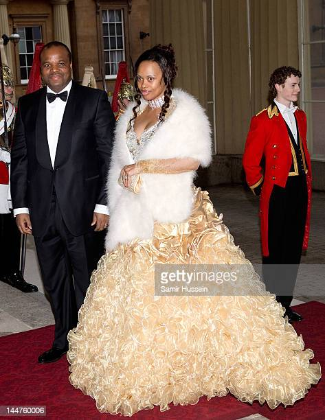 King Mswati III of Swaziland and Inkhosikati Lambikiza of Swaziland attend a dinner for foreign Sovereigns to commemorate the Diamond Jubilee at...