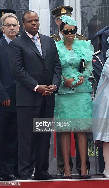 King Mswati III of Swaziland and Inkhosikati LaMbikiza of Swaziland attend the Armed Forces Parade and Muster in Home Park on May 19 2012 in Windsor...