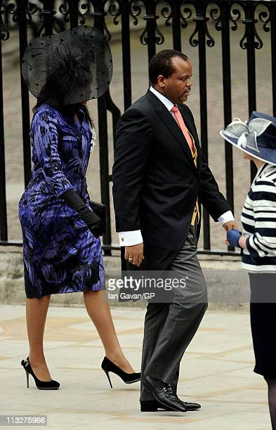 King Mswati III of Swaziland arrives to attend the Royal Wedding of Prince William to Catherine Middleton at Westminster Abbey on April 29 2011 in...