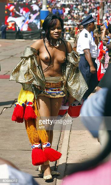 King Mswati III's first daughter Princess Sikhanyiso arrives at the Somhlolo Stadium on September 6 2008 in Lobombo prior to celebrate the 40th...