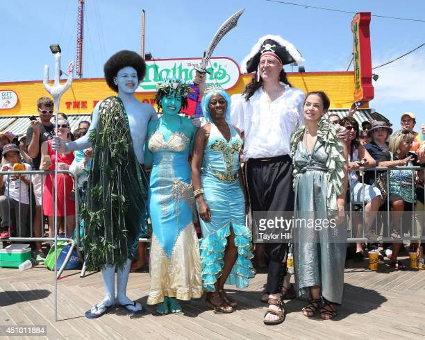 King Neptune Dante de Blasio, Queen Mermaid Chiara de Blasio, New York City first lady Chirlane McCray, New York City mayor Bill de Blasio, and...