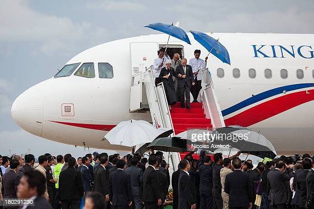 King Norodom Sihamoni and Queen Mother Norodom Monineath arrives at the Phnom Penh airport they were welcomed by PM Hun Sen and opposition leader Sam...