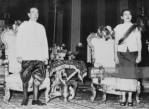 King Norodom Suramarit who acceded to the throne when his son Norodom Sihanouk abdicated and his wife Queen Sisowath Kossouan Nearyreak pose for an...