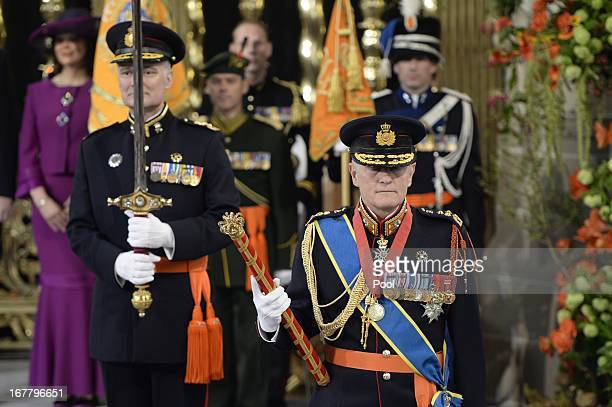 King of Arms General van Uhm arrives at the inauguration of HM King Willem Alexander of the Netherlands and HRH Queen Maxima of the Netherlands at...