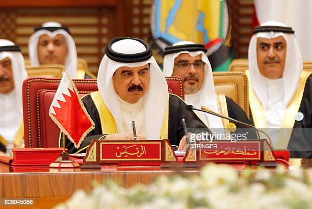 King of Bahrain Hamad bin Issa alKhalifa attends a Gulf Cooperation Council summit on December 6 in the Bahraini capital Manama British Prime...