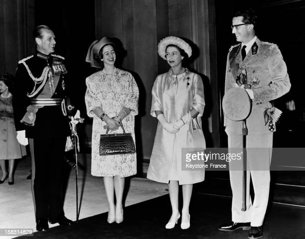 King of Belgium Baudouin and Queen Fabiola at Victoria station welcomed by Queen Elizabeth and Prince Philip Duke of Edinburgh for official visit on...