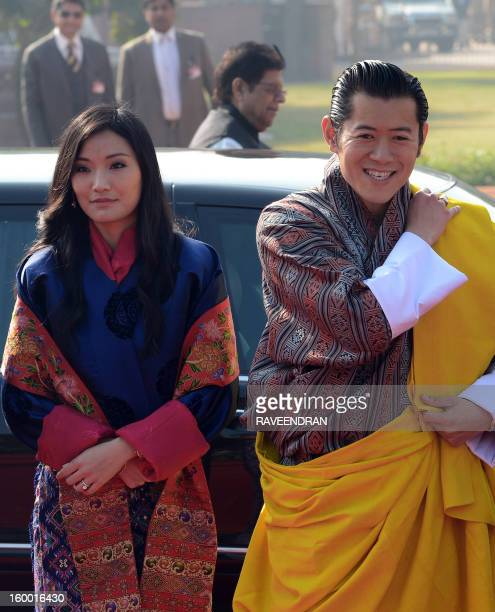 King of Bhutan Jigme Khesar Namgyel Wangchuk and Bhutanese Queen Jetsun Pema Wangchuck arrive for the welcome ceremony at the Presidential Palace in...