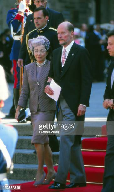 King of Bulgaria Simeon and his wife Margarita Gomez Acebo at the wedding of the Infanta Cristina daughter of the Spanish Kings Juan Carlos and Sofia...