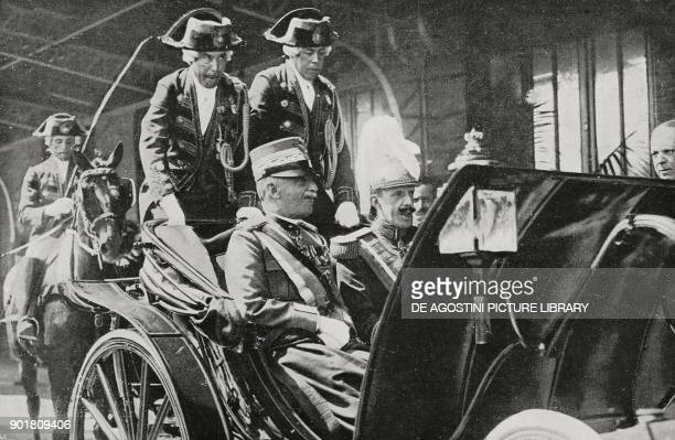 King of Italy Vittorio Emanuele III and the King of Spain Alfonso XIII in a carriage in Madrid Italian royal visit to Spain from L'Illustrazione...