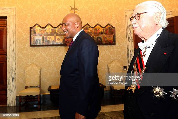 King of Lesotho Letsie III arrives at Vatican for an audience with Pope Francis on October 7, 2013 in Vatican City, Vatican. The themes of their...
