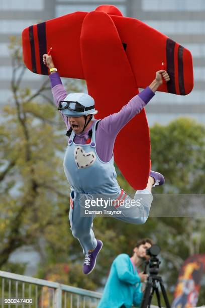 King of Moomba Jimmy Giggle takes part in the Birdman Rally on March 11 2018 in Melbourne Australia The annual charity event sees entrants in home...