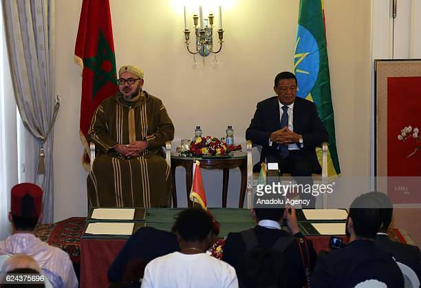 King of Morocco Mohammed VI attends a signing ceremony with President of Ethiopia Mulatu Teshome at the presidential palace during his official visit...
