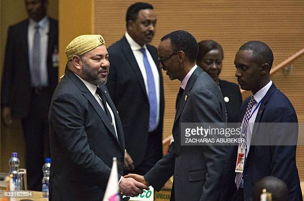 King of Morocco Mohammed VI greets Rwanda's President Paul Kagame in the main plenary of the African Union in Addis Ababa on Jan 31 2017 Morocco's...