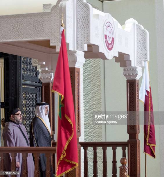 King of Morocco Mohammed VI is welcomed by Emir of Qatar Sheikh Tamim bin Hamad Al Thani with an official ceremony during his official visit in Doha...