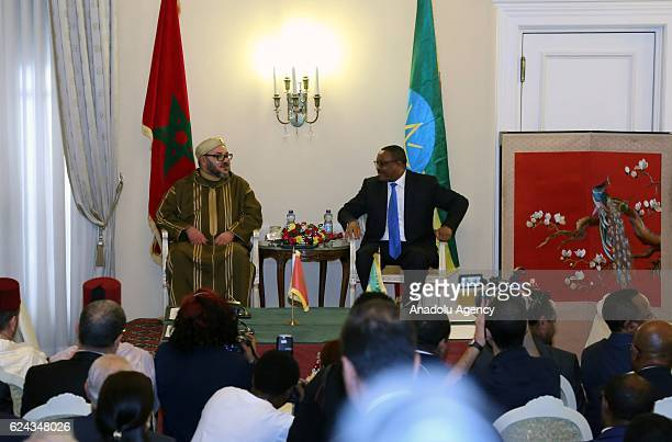 King of Morocco Mohammed VI meets Ethiopian Prime Minister Hailemariam Desalegn at the presidential palace in Addis Ababa Ethiopia on November 19 2016