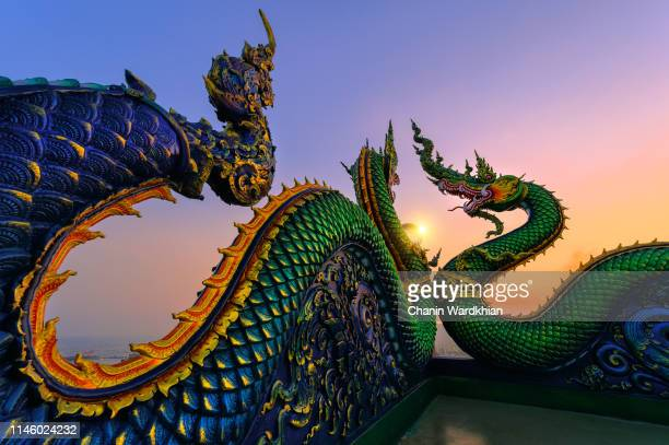 king of nagas, serpent of crystal, ball the magnificent architecture of the temple - thailand stock-fotos und bilder