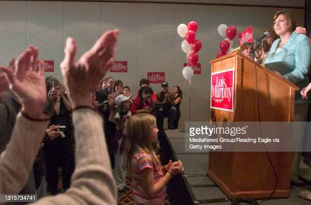 King of Prussia, PA - An audience member applauds while Lois Murphy speaks Tuesday night.Lois Murphy reaction to the results of election, at the...