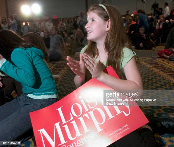 King of Prussia, PA - Emily Mazo of Bala Cynwyd, watches with her friends as election results come in Tuesday night.Lois Murphy reaction to the...