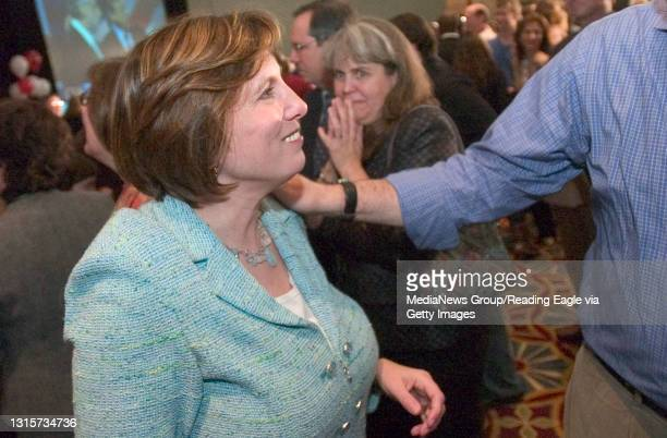 King of Prussia, PA - Lois Murphy greets supporters after speaking to the group late Tuesday night.Lois Murphy reaction to the results of election,...