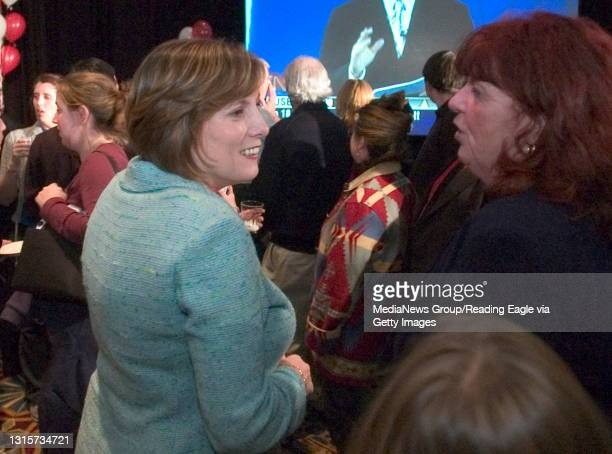 King of Prussia, PA - Lois Murphy talks with supporters as poll results come in. Lois Murphy reaction to the results of election, at the Crowne Plaza...