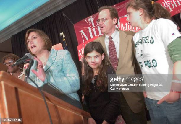 King of Prussia, PA - Lois Murphy with her husband Ben Eisner and daughters Lily Eisner and Emily Eisner .Lois Murphy reaction to the results of...