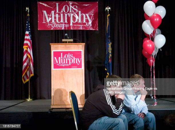 King of Prussia, PA - Michael J Handwerk and Michael J Speck , watch election results on CNN at the Lois Murphy reception at 2:00 am Wed Morning....