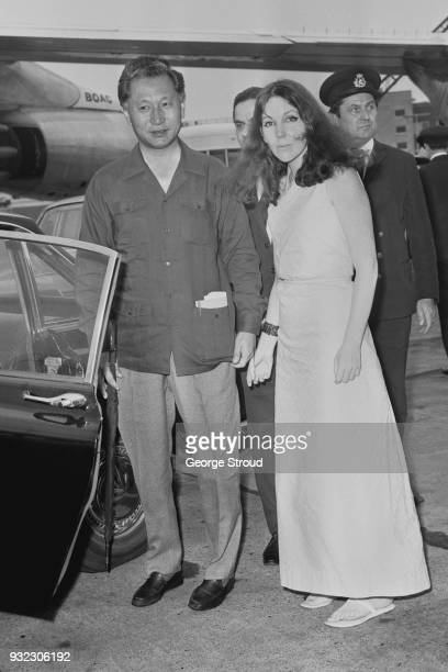 King of Sakkim Palden Thondup Namgyal with his wife Queen of Sakkim Hope Cooke at Heathrow Airport London UK 6th August 1968