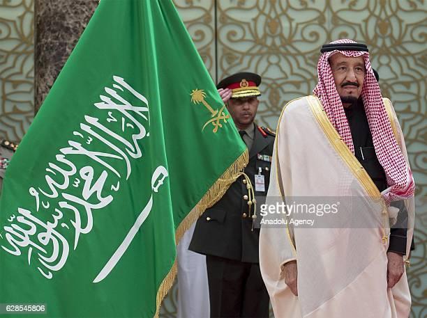 King of Saudi Arabia Salman bin Abdulaziz Al Saud is welcomed by Emir of Kuwait Sheikh Sabah IV Ahmad AlJaber AlSabah at Bayan Palace in Kuwait City...