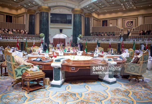 King of Saudi Arabia, Salman bin Abdulaziz Al Saud makes a speech during the 39th Gulf Cooperation Council Summit in Riyadh, Saudi Arabia on December...