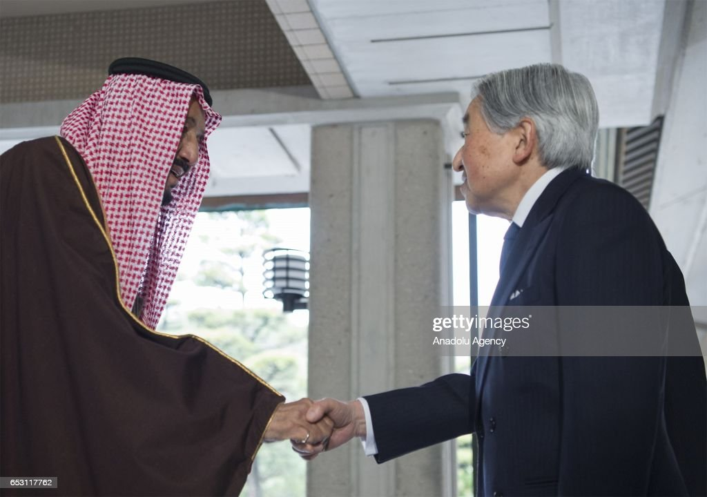 King of Saudi Arabia Salman bin Abdulaziz Al Saud (L) meets Emperor Akihito (R) in Tokyo, Japan on March 14, 2017.