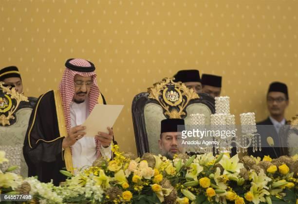 King of Saudi Arabia Salman bin Abdulaziz Al Saud meets with King of Malaysia Muhammad V during his official visit at Istana Negara in Kuala Lumpur...