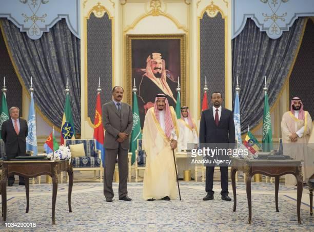 King of Saudi Arabia Salman bin Abdulaziz Al Saud poses for a photo with Prime Minister of Ethiopia Abiy Ahmed and President of Eritrea Isaias...