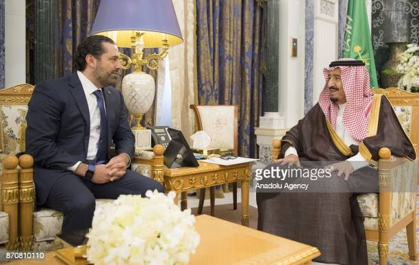 King of Saudi Arabia Salman bin Abdulaziz Al Saud receives Former Prime Minister of Lebanon Saad Hariri who resigned recently at Palace of Yamamah in...