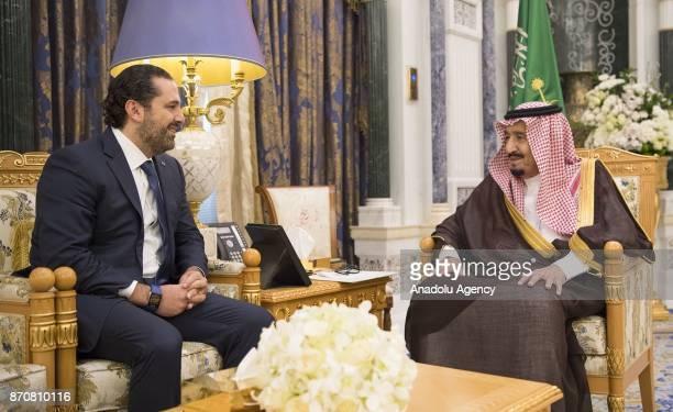 King of Saudi Arabia Salman bin Abdulaziz Al Saud receives Former Prime Minister of Lebanon Saad Hariri who resigned recently at Palace of Yamamah in...