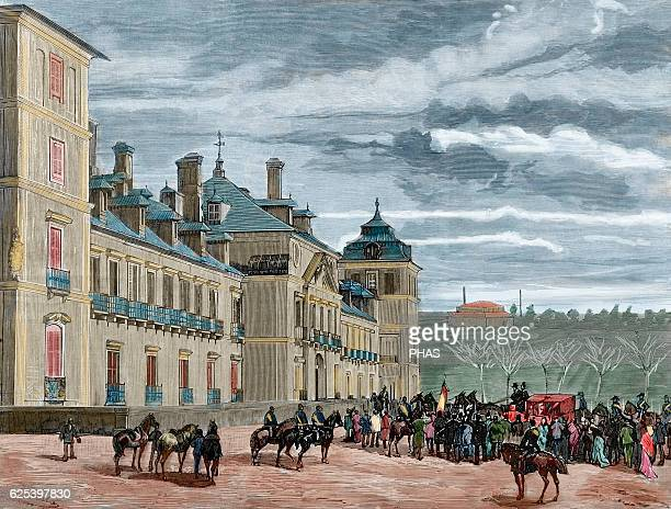 King of Spain Alfonso XII and queen consort Maria Christina of Austria arriving at Royal Palace of El Pardo. Engraving by Rico. La Ilustracion...