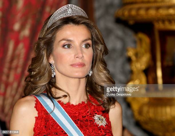 King of Spain Juan Carlos and Queen Sofia with Prince Felipe and Princes Letizia offered a gala dinner at the Royal Palace in Madrid in honour of the...
