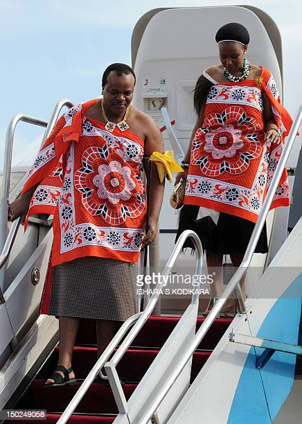 King of Swaiziland Mswati III and wife Inkhosikati Make Mahlangu disembark at the Bandaranaike International Airport in Katunayake on August 132012...