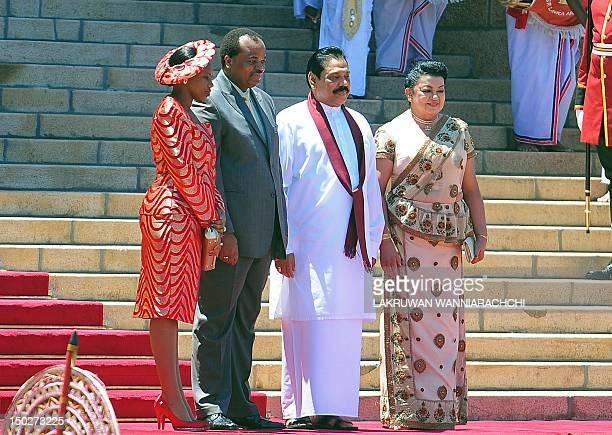 King of Swaiziland Mswati III and wife Inkhosikati Make Mahlangu poses for photographers with Sri Lankan President Mahinda Rajapaksa and Shiranthi...