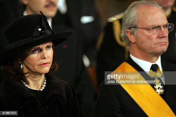 King of Sweden Carl XVI Gustav and his wife Queen Silvia attends the funeral of Luxembourg Grand Duchess Josephine Charlotte in Notre Dame de...