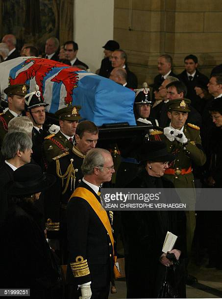 King of Sweden Carl XVI Gustav and Queen Marghrete of Denmark attend the funeral of Luxembourg Grand Duchess Josephine Charlotte in Notre Dame de...
