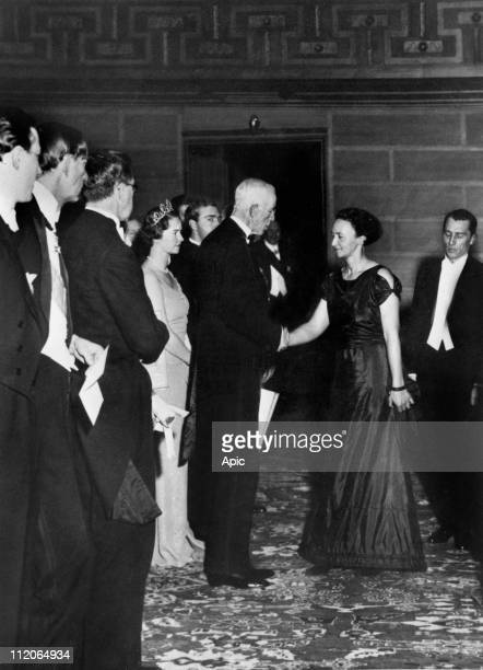 King of Sweden Gustaf V congratulating Frederic and Irene JoliotCurie after they received the Chemistry Nobel Prize in Stockholm in 1935 for their...