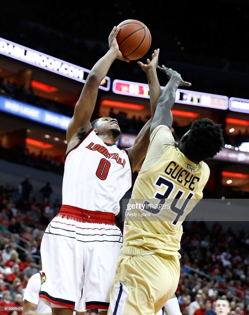 V.J. King #0 of the Louisville Cardinals shoots the ball against the Georgia Tech Yellow Jackets during the game at KFC YUM! Center on February 8, 2018 in Louisville, Kentucky.