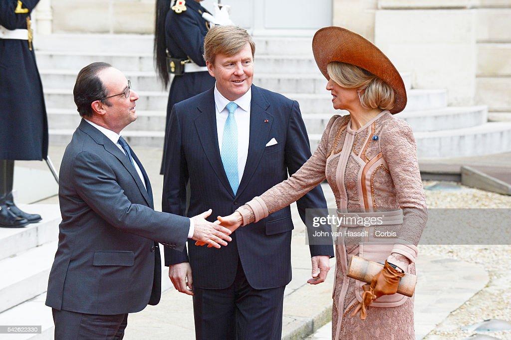 Dutch Royal Couple meet French President : Fotografía de noticias