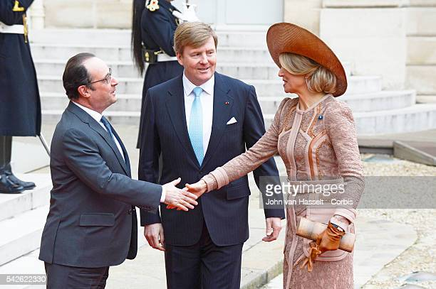 King of the Netherlands WillemAlexander and his spouse Queen Maxima are on an official visit to Paris where they meet with French President Francois...