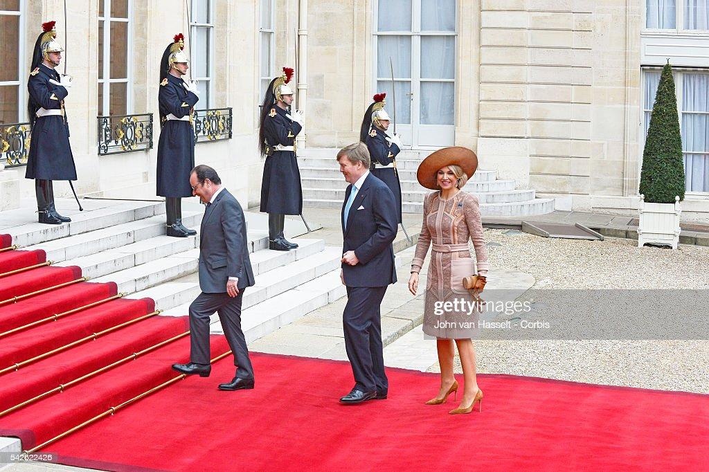 Dutch Royal Couple meet French President : News Photo