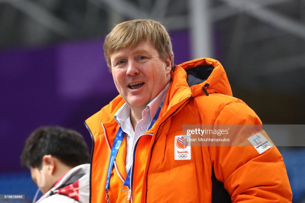 King of the Netherlands Willem-Alexander attends the Men's 5000m Speed Skating event on day two of the PyeongChang 2018 Winter Olympic Games at Gangneung Oval on February 11, 2018 in Gangneung, South Korea.