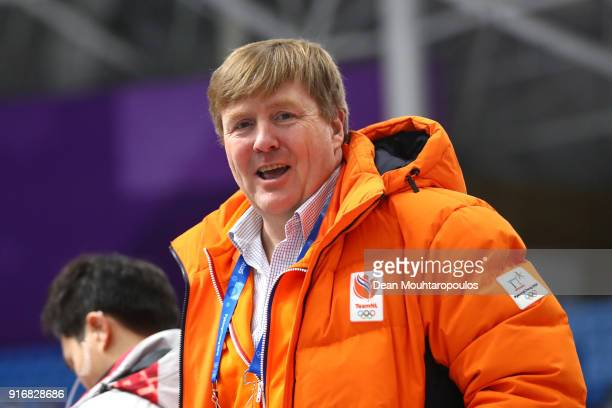 King of the Netherlands WillemAlexander attends the Men's 5000m Speed Skating event on day two of the PyeongChang 2018 Winter Olympic Games at...