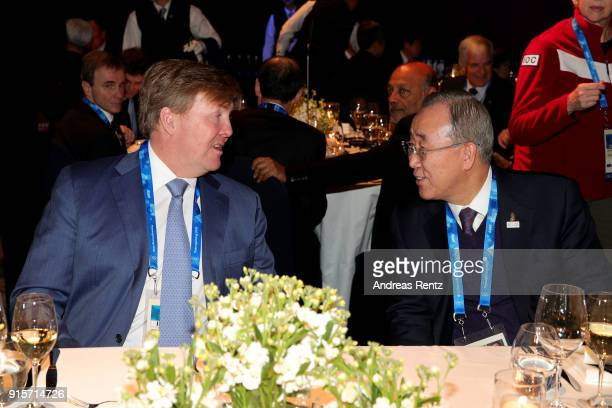 King of the Netherlands Willem-Alexander of the Netherlands and Ban Ki-moon attend the IOC President's Dinner ahead of the PyeongChang 2018 Winter...
