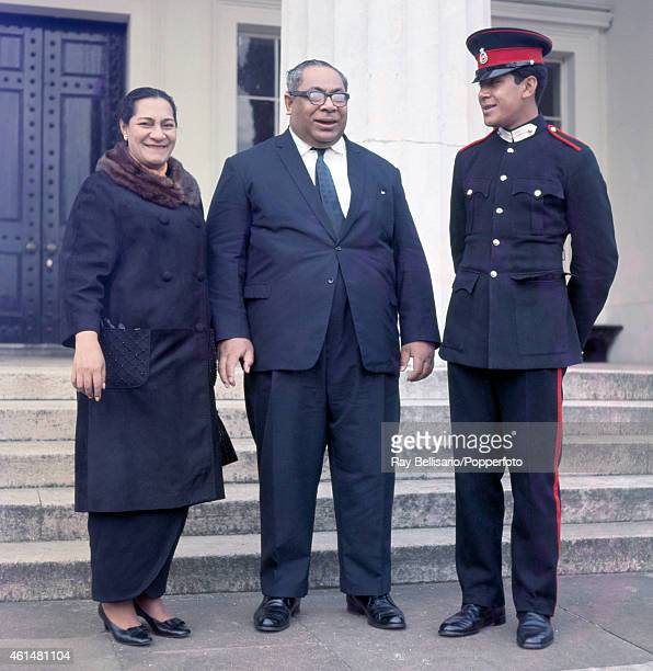 King of Tonga Taufa'Ahau Tupou IV and his wife Queen Halaevalu Mata'Aho 'Ahome'E with their son Prince Georges Tupou at the prince's passingout...