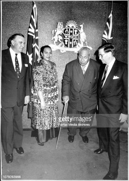 King of Tonga Taufa'ahau Tupou IV and Princess Salote Pilolevu attending a function for their a arrival in Sydney at the Premiers Dept. Banned...